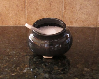 Black Salt Pig / Cellar with Handmade Spoon - In Stock Ready to Ship