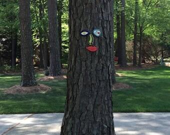 Picasso Inspired Tree Face - Original Unique Garden Art Yard  -  In Stock