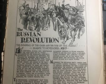 The Russian Revolution 1917 .1933 book page history print illustration . Art frameable history