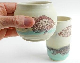 Fish Cups - 6oz - 10 oz - tumbler, cup, porcelain, pottery