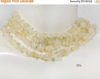 ON SALE Ethiopian Opal Chips Ivory Orange Flash Green Flash Earth Mined Precious Stone - Average 4 to 5mm - 8.5-Inch Strand
