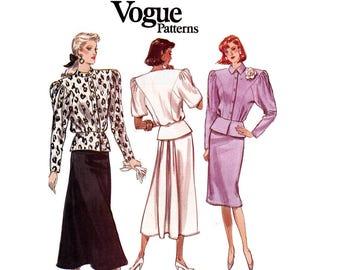 80s Peplum Top & Skirt Pattern Vogue 7011 Back Pleats Shoulder Pads Vintage Sewing Pattern Size 8 10 12 Bust 31 1/2 32 1/2 34 inches UNCUT