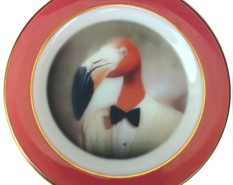 Fernando the Fantastic Flamingo - Altered Vintage Plate 10""