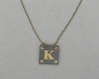 Square Leather K Necklace