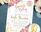 Baby Shower Brunch Invitation, Watercolor Invite, Peony, Peonies, Gold Leaf, Confetti, Pink Green, DIY, Printed or Printable Invitations