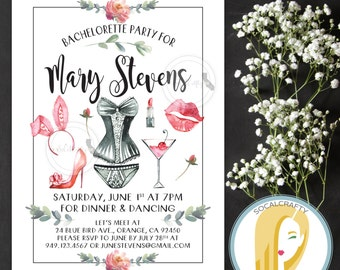 Watercolor Bachelorette Party Invitation, Lingerie Shower Invite, Floral, Martini, DIY, Printed or Printable Invitations, Free Shipping