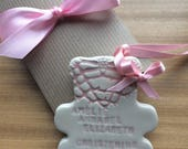 Ceramic pottery christening gift teddy bear personalised for Naomi