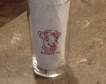 Vintage Borden Dairy Elsie Cow Glass Advertising Tumbler Elsie Says If It's Borden's It's Got To Be Good