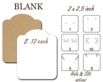 Blank Earring Cards, Jewelry Display Cards, 45 Blank earring cards, Earring Holders, 2x2.50 inch