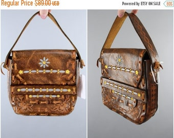 SALE - Vintage 1960s Leather Purse / 60s Tooled Leather Handbag / 70s Hippie Bohemian Boho Small Bag