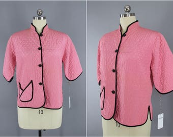 Vintage 1940s Bed Jacket / 40s Lingerie Loungewear / Carnation Pink Quilted Pajamas / Size Medium M