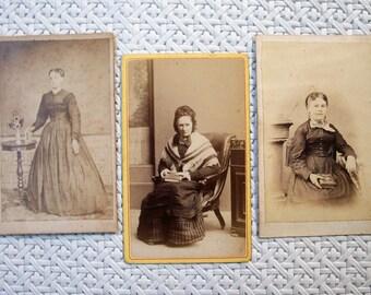 3 Carte des Visite CDV Studio Photo Cards - Ladies & Their Books