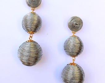 Silver Cord wrapped Les Bonbon bon bon Gum Drop Earrings
