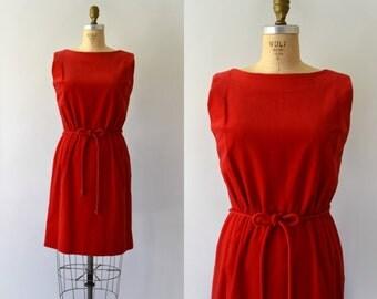 1960s Vintage Dress - 60s Red Velvet Shift Dress and Belt Set