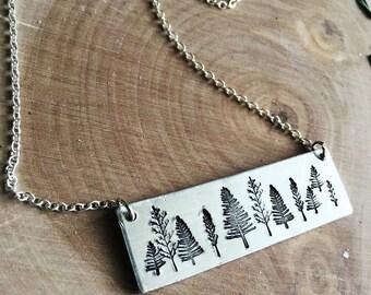 Silver tree bar necklace
