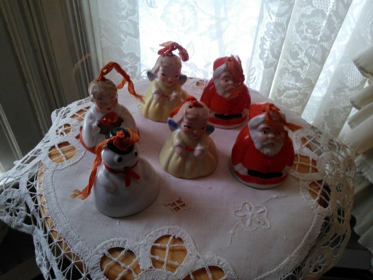 Americana christmas ornaments - 1920 Antique Porcelain Figures Christmas Bells Ornaments Set Of 6 Made In Japan Ogb Shelf Sitter Primitive Americana