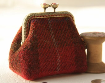 Bronze metal frame coin purse/red pearls /Red and brown check Harris tweed/ Liberty tana lawn