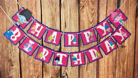 Trolls Happy Birthday Party Banner