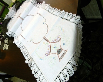 Linen Embroidered Table Runner or Scarf - Wide Lace Edge - Damaged 10185