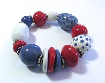 Kazuri Bangle, Blue Cornflower, Red and White Ceramic Bracelet