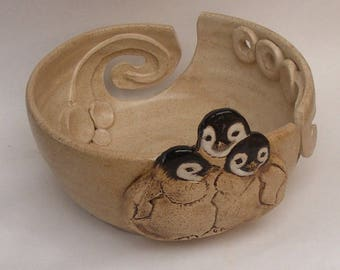 Baby Penguins Yarn bowl, Stoneware Ceramic Yarn Bowl,
