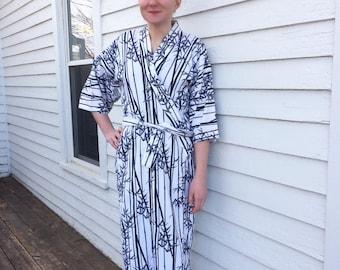 White Blue Kimono Robe Bamboo Print Cotton Japan Japanese Asian Traditional Ethnic Wrap S
