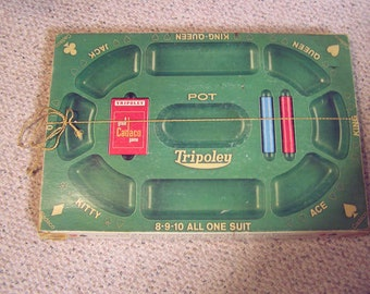 Vintage 1960 Tripoley game  in box , a very fun game to play with family, start family nite
