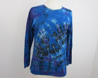 Long Sleeve Tie Dye Large Ladies Size Bright Blue and Purple