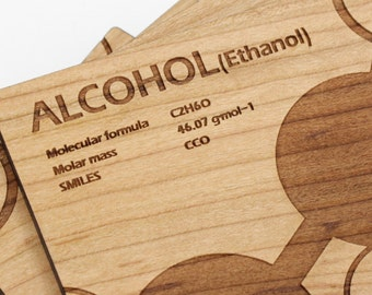 Alcohol Molecule Coasters - Gift idea for the Science/Chemistry Fanatic. Sustainable Forestry Products Made in the USA! Cherry Wood.