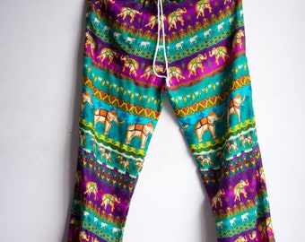 Green Purple Elephant Printed Rayon Harem Pants /Gypsy Pants/Aladdin Pants/Genie Pants/Yoga Pants /Thai Pants
