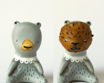 Bear totem with bear mask-  Animal figurine   - woodland creature art