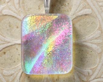 Dichroic Glass Pendant, Icy Rainbow DGP-512