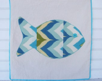 Aqua fish pillow for your coastal living lifestyle
