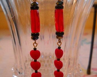 Red Dangle Pierced Earrings Repurposed Vintage Rhinestones Crystals FREE SHIPPING