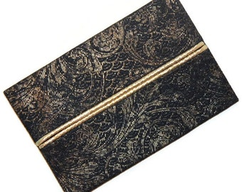 Travel Tissue Holder, Metallic Gold and Navy Blue, Purse Tissue Holder, Travel Tissue Cozy, Pocket Tissue Holder