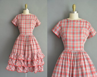 50s Mode O Day red and gray plaid cotton vintage dress. vintage 1950s dress