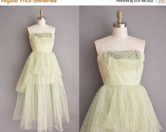 20% OFF SHOP SALE... celery green tullle lace prom dress / 50s dress / vintage 1950s dress