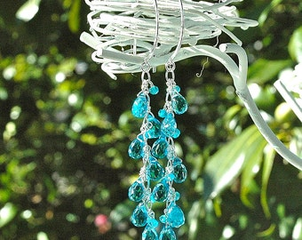 Electric Blue Quartz Dangle Earrings / Sterling Silver / Wire Wrapped / Turquoise / Peacock / Neon / Long / Gifts for Her / OOAK