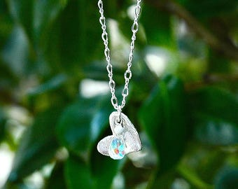 NEW Sterling Silver Rainbow Heart Pendant / Quartz Teardrop / Everyday Necklace / Artisan Silver / Foil Textured / OOAK Jewelry
