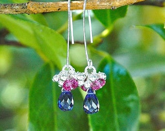 "Sterling Silver ""Blueberry"" Dangle Earrings / Quartz Teardrops / Blue / Hot Pink / Wire Wrapped / Gifts for Her / OOAK"