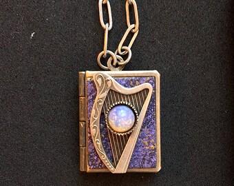 Celtic Harp Peace Book-purple and silver
