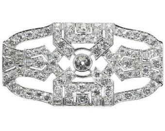 30% Off Winter Sale Art Deco Brooch European Cut Diamond Platinum circa 1920