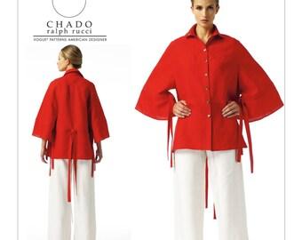 Sz 6/8/10/12/14 - Vogue Separates Pattern V1347 by CHADO RALPH RUCCI - Misses' Tie-Detail Shirt & Drawstring Pants - Vogue American Designer