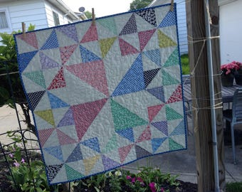 """QUILTED PINWHEELS QUILT, 30's Reproduction Fabrics, 31.5"""" x 31.5"""", Scrappy Quilt, Lap Quilt, Baby Quilt,  Quilted Tablemat, Quilted Blanket"""