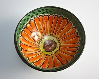Small Ceramic Pottery Bowl - Pottery Bowl - Zinnia Flower - Ceramic Dish - Kitchen Prep Bowl - Majolica Bowl - Orange on Green - Cereal bowl