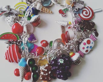 Limited edtion,Tuttifrutti, I love food, ice cream, cake, fruit, tea party, mix colour, Summer, charm Bracelet, by NewellsJewels on etsy