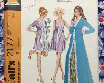 McCall's 2177 UNCUT vintage sewing pattern Misses' Size 8 Nightgown & Robe in two lengths Copyright 1969