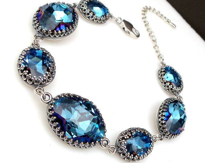 bridesmaid jewelry bracelet bridal wedding prom party gift swarovski rhinestone oval antique silver setting aquamarine metallic blue Z oval