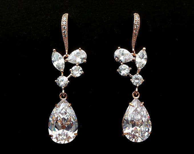 wedding jewelry bridesmaid gift party prom bridal christmas earrings Clear white teardrop multi-shape vine cubic rose pink gold earrings