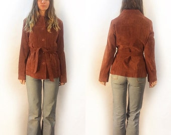 vintage maxima Wilson's rust colored suede leather blazer coat jacket // size small // 60s 70s 90s // reddish brown